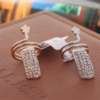 Wholesale Pop Twisted Pave Rhinestone Finger Nail Ring Tip Jewelry Rings For Women Gold and Silver Best Gifts