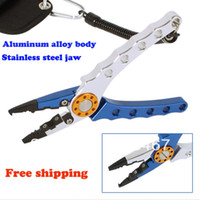 Wholesale Deluxe Aluminum blue and silver color stainless steel jaws bent nose hook remover fishing plier
