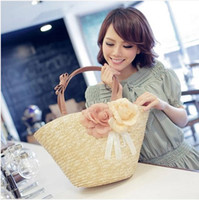 Wholesale 2014 For women s gift Western style Summer charming candy bohemian Beach bags handwork straw woven handbags women fashion flower totes purse