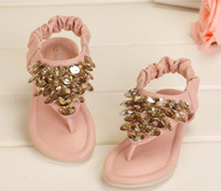 Wholesale 2013 Children Girl Princess Style Sequins Sandals Rose Rhinestone Festival Child Shoes Pink Beige Summer Party Wears B2022