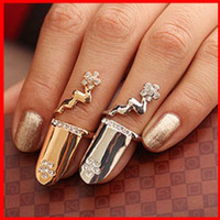 Wholesale Vintage Fashion Cool Silver Gold Plated Shiny Alloy Nail Ring Transparent Rhinestone Arrange Flower Rings