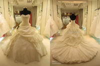 Wholesale 2014 Real Dress Elegant Ball Gown Sweetheart Cathedral Train Ruffles Crystal Bridal Gown Wedding Dresses SL