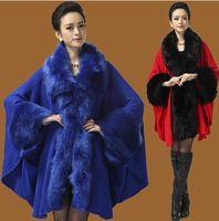 Cardigan wool fabric coat - 2014 the new spring winter ladies wool fabrics wool like cape cape fur shawls fox fur coat