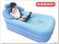 Pool   Free Shipping-160*84*64CM Spa PVC Folding Portable Bathtub Inflatable Bath Tub With Zipper Cover Drink Holder Fashion 2 colors can be chosen