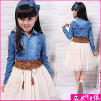TuTu Spring / Autumn Straight 2014 Spring Pre-Teen Girls Dress Teenager Dress Long-sleeved Denim Splicing Dress Princess Dress