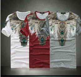 Wholesale 2014 NWT Summer Big brand Men s Stylish Feather Printing Tee Short Sleeve O neck Casual T shirts JP317