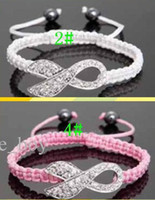 Beaded, Strands South American Women's Hot Sales 15pcs Pink Rhinestone & White Crystal Crystal Ribbon Charms Breast Cancer Awareness Macrame Adjustable Bracelets Finding
