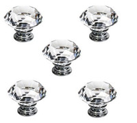 Crystal   5X 40MM New Drawer Handles Pull Handles Drawer Knobs Funiture Handles Clear Crystal Glass Door Knobs Drawer Cabinet Kitchen Handles + Screws