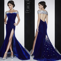 Wholesale New Navy Blue Velvet Prom Dress Sexy Sweetheart Neckline Backless MAC DUGGA Evening Gowns Off shoulder Crystal Beaded Beads Dresses