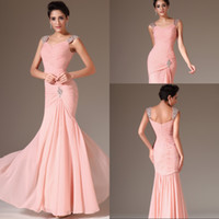 pink mermaid prom dresses - Best Selling Mermaid Cap Sleeve Prom Dresses Floor Length Pink Chiffon Beach Prom Gowns Long Evening Dresses Beaded Sequins