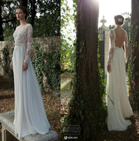 Sheath/Column Reference Images Jewel 2014 berta Backless Sheath Wedding Dresses Sexy Illusion Crew Neck Long Sleeve Applique Lace Chiffon Sheer Empire Beach Garden Bridal Gowns