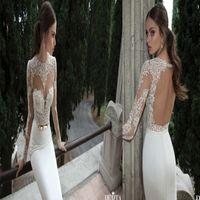 Cheap New Arrival 2014 Elegant Berta Bridal Sheer Sheath Backless Scoop Neckline Long Sleeve Lace Satin Wedding Dresses