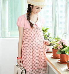 Wholesale 2014 New Designer Korean Casual Maternity Dresses Pregnant Women Skirts Lace Chiffon Short Sleeve Spring Autumn Summer Clothing