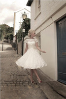 Wholesale 2014 Top selling Sexy short wedding dress Lace bride dress Ball Gown Tea length Short Sleeves wedding dresses