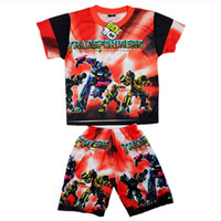 Wholesale Boy suits Children summer clothing fashion carton pattern suitable for years old KLZ T0076H