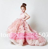 Reference Images Girl Applique 2014 Exquisite pink chiffon ruffles wedding birthday flower girls' dresses sweep train custom made applique girls' pageant gowns BO3897