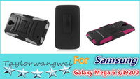 For Samsung Plastic Wholesale Cell Phone Case FOR Samsung Galaxy Mega 6.3 I9200 BLACK SKIN CASE+ARMOR CASE BLACK with Stand and BLACK HOLSTER 6 Colors 200Pcs Lot