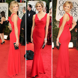 Wholesale 2014 Celebrity dress floor length V neck Golden Globe Awards Sheath Red Carpet Prom Dresses