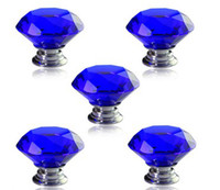 drawer knobs - 5X MM Blue Drawer Handles Pull Handles Drawer Knobs Funiture Handles Clear Crystal Glass Door Knobs Drawer Cabinet Kitchen Handles Screws