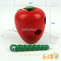 Wholesale Cheap Montessori Teaching Aids Baby Toys Worms Eat Fruit Puzzle Wooden Education Toy Channeling Rope Toddler Toys