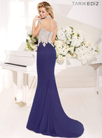 Wholesale Tarik Ediz High Neck Crystal Hollow Back Trumpet Mermaid Sexy Chiffon Royal Blue Formal Evening Dress Prom Gown Evening Dresses Prom Dress