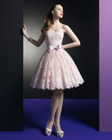 Wholesale 2014 Sexy Zuhair Murad Dress Short Prom Dresses Pink Lace Cocktail Dresses Party With Strapless Neckline And Bow