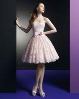 al por mayor zuhair rosa-2014 vestidos de coctel atractivo de Zuhair Murad vestido corto vestidos de baile rosa del cordón de fiesta con escote palabra de honor y arcos