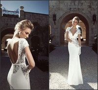 Wholesale 2014 Sexy V Neck Cap Sleeves Backless Lace A Line Wedding Dresses Beaded Crystals Memaid Sheath Summer Beach Bridal Evening Gowns Summer