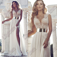Trumpet/Mermaid Reference Images V-Neck New 2014 Deep V-Neck Embroidery Beaded Gold Metal Belt Chiffon Julie Wedding Dresses Designer Special Occasion Dress Multi Color
