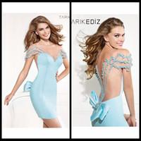 Reference Images baby seeing - Elegant Tarik Ediz Bateau Cap Sleeve Mermaid With Pearls See Through Back Long Baby Blue Satin Evening Dresses