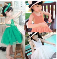 Wholesale Latest Summer Suspender Dresses Children Girls Lace Cross Back Tiered Gauze Cute Dress Pleated Princess Jumper Skirt B2281