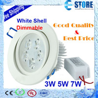 Cheap LED DownLight Dimmable CREE 3W 5W 7W items White shell 330-770LM Bathroom living room kitchen light,wu