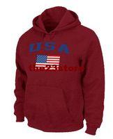 Football Men Full Cheaper Team USA Olympics Jersey Hoodies USA Flag Pullover Hoodie Red Men's Sports Sweatshirts Hoodies 2014 Newest Brand Name Cheap Fleece