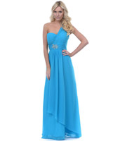 Wholesale HQ Fashion Shoulders Dresses Blue Chiffon Bridesmaid Dress Women Long Tunic Wedding Party Dress