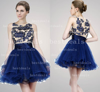 2014 royal blue cocktail dresses Sheer high neck Applique Sh...