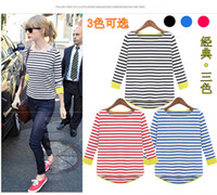Women Crew Neck Regular New 2014 women fashion long sleeve tshirt Tops & Tees clothing casual cotton autumn-summer striped famous brand european perfume