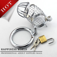 Wholesale New Stainless Steel Wire Male Chastity Art Device Cock Cage Cock ring Sex toys For Man