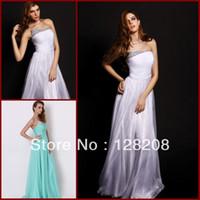 Reference Images Chiffon Sleeveless Elegant Strapless Crystal Pleat A-line Chiffon Aqua Prom Dresses