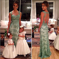 Wholesale 2014 Sexy New Lace Bride dress Floor Length green Best Selling A Line Beaded Party Spaghetti strap Crystal Wedding Evening Gowns