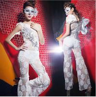 Clubwear Applique Sheer 2014 Greek Goddess Oblique Shoulder Crochet Gauze Perspective Jumpsuits Sexy Party Dancer DS Costumes Hip-Hop Jazz Nightclubs Stage Wear