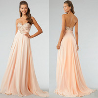 Wholesale Gorgeous Sweetheart Beaded Embroidery Coral Chiffon A Line Floor Length Backless Formal Prom Gown Evening Dresses Fashion