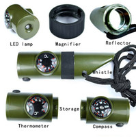 Wholesale 10 New Arrivals in Multi function Emergency Survival Whistle Compass Thermometer LED Flashlight Magnifier