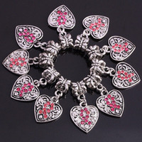 Wholesale 50pcs Pink Crystal Rhinestone Heart European Dangle Bead Breast Cancer Awareness Jewelry Findings