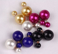 Dangle & Chandelier  white,black,yellow,royalblue,red,purple South American New Arrival Korea Style Gold Plated Alloy Faux Double Pearl Ear Stud Earrings 12Pairs lot