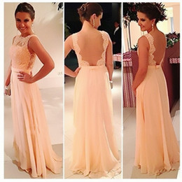 Wholesale Big Discount High Quality U Open Back Print Chiffon Lace Long Peach Color Bridesmaid Dress Party Dress Prom Vestidos