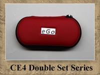 CE4 eGo Double Starter kit 2 CE4 atomiseur 2 batteries 650mAh 900mAh 1100mAh Cigarette électronique de étui à fermeture éclair coloré