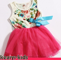 Fashion Flower Sleeveless Lace hot pink rose red green baby girls dress princess kids tutu dresses WZZLHT001