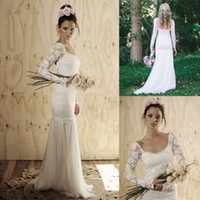 A-Line Reference Images Scoop 2014 Sexy White Long Sleeve Boho Wedding Dresses Vintage Scoop Chiffon Lace Sweep Train Romantic Beach Wedding Sheer Bridal Gowns Backless