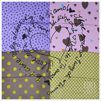 Wholesale fashion square twill silk heart printed scarf