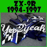 Yes2yeah Carénage ABS pour Kawasaki ZX-9R ZX9R ZX 9R 1994 1995 1996 1997 94 95 96 97 Noir Bleu Blanc K94Y23 + 5 Cadeaux gratuits